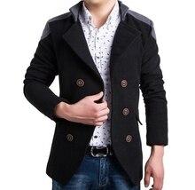 Британский мужская мода шить Лилин двубортные пальто мужской бренд Вскользь Уменьшают Подходящую шерсть Теплая куртка пальто