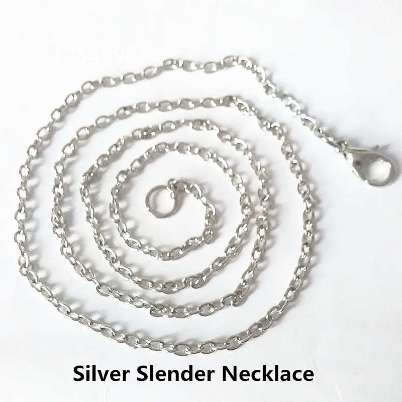 Bright Silver Slender font b Necklace b font 40 45 50 50 CM Can Free Collocation