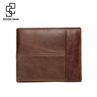 Luxury Casual 100 Real Genuine Cowhide Leather Men Short Bifold Wallet Wallets Man Small Purse Coin