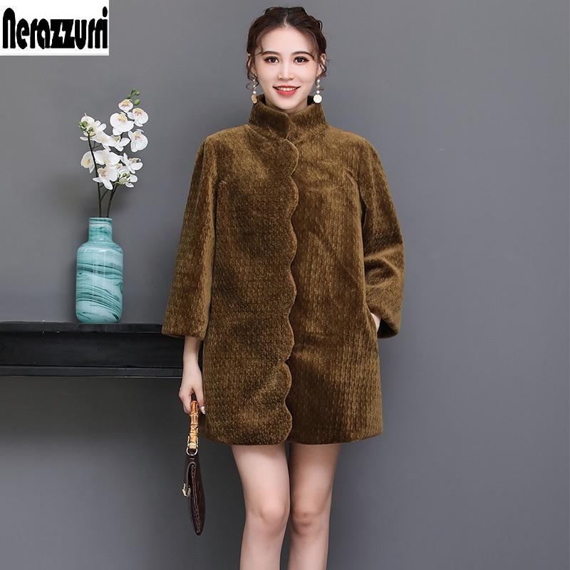 Nerazzurri Winter real fur Jacket scallop trim natural shearling sheep fur coat black warm large size women clothing 5xl 6xl 7xl