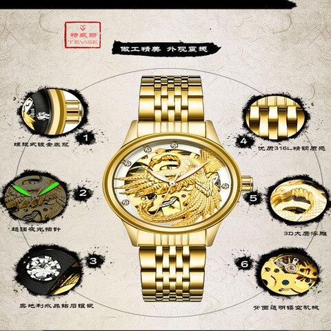 TEVISE Luxury Brand Fashion Phoenix Women Watches Luminous Clock Womens Steel Gold Bracelet Automatic Mechanical Ladies Watch Karachi