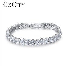 CZCITY Hot Selling Roman Chain Bracelet for Women Luxury 2.75mm Cubic Zirconia Inlay Charm Bride Wedding Bracelets & Bangles