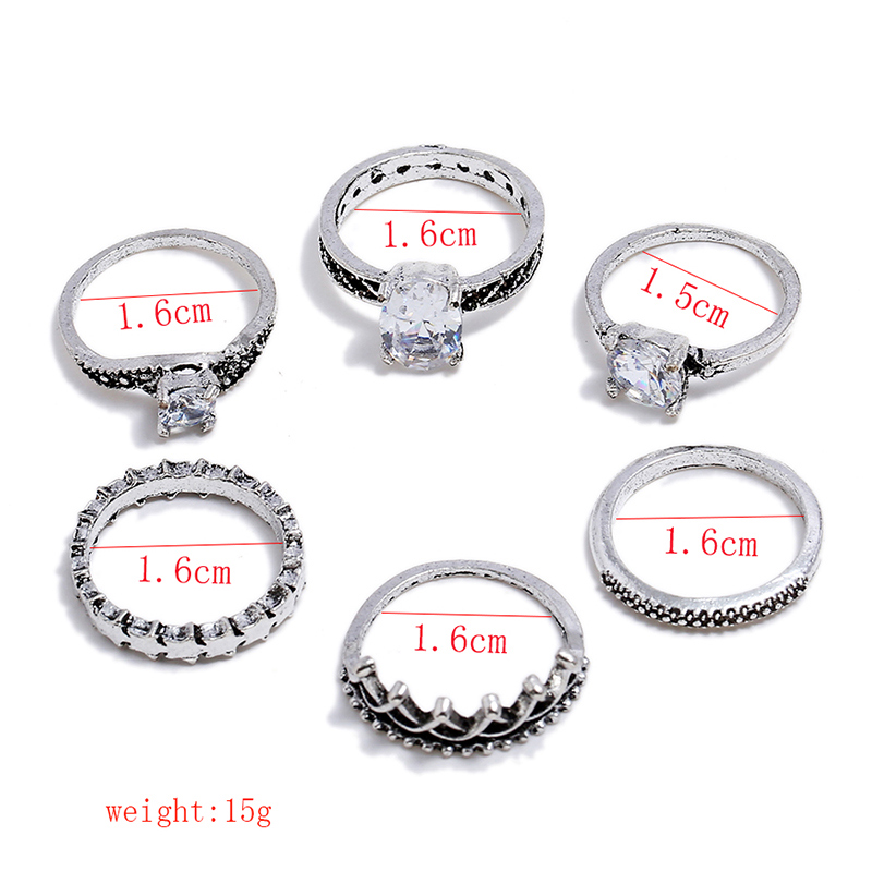 6 Pcs/lot Rhinestone Crown Rings Set Bohemian Geometric Antique Silver Color Knuckle Shield Ring Set for Women Fashion Jewelry