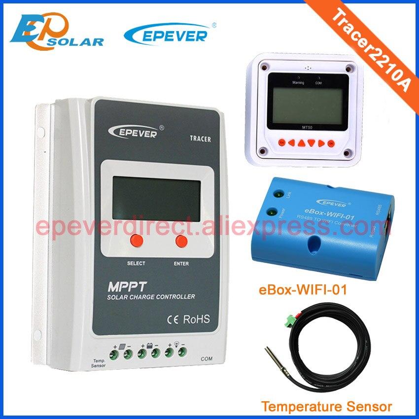 MPPT high efficiency solar power regulators Tracer2210A+temperature sensor MT50 20A 20amp eWIFI-BOX-01 wifi function акустика центрального канала mt power elegance center black