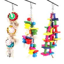 Bird Accessories Bird Accessories 3pcs Straw Plaited Bird Hanging Swing Wood Block Cage Toys Biting Chewing Toy(China)
