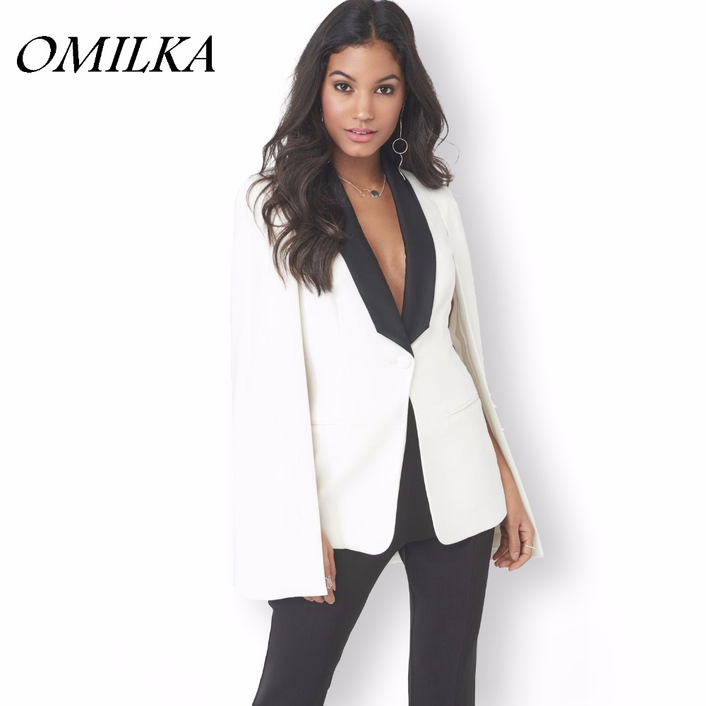OMILKA Blazer Feminino 2018 Summer Women Cape Blazer Fashion Long Sleeve Black White Off ...