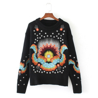 autumn and winter women sweater leisure solid color embroidery sweater