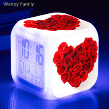 Heart-shaped Red Rose flower Alarm Clock 7 Color Glowing LED Digital Kids room Multi-fonction Fashion Watches