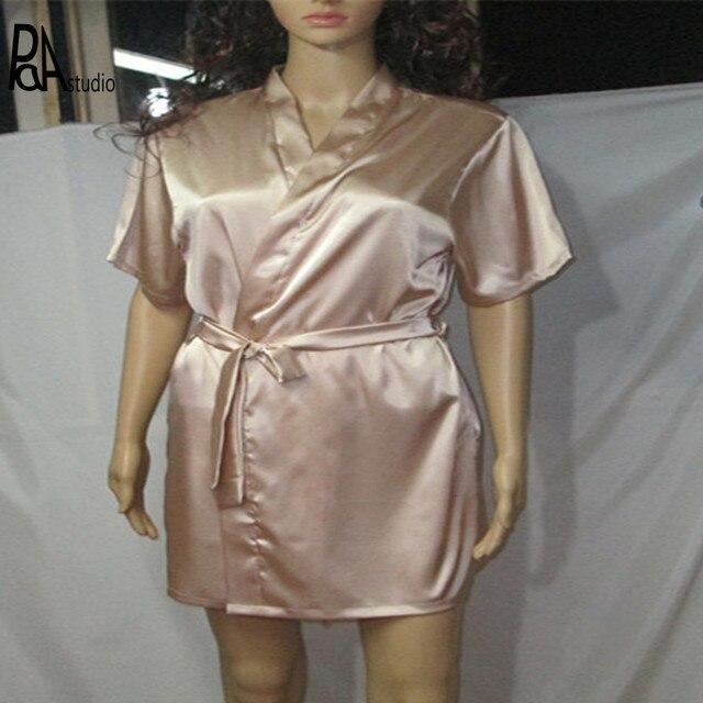 Plus La Taille Xxl 3xl Femme Homme Satin Soie Peignoir Avec Ceinture