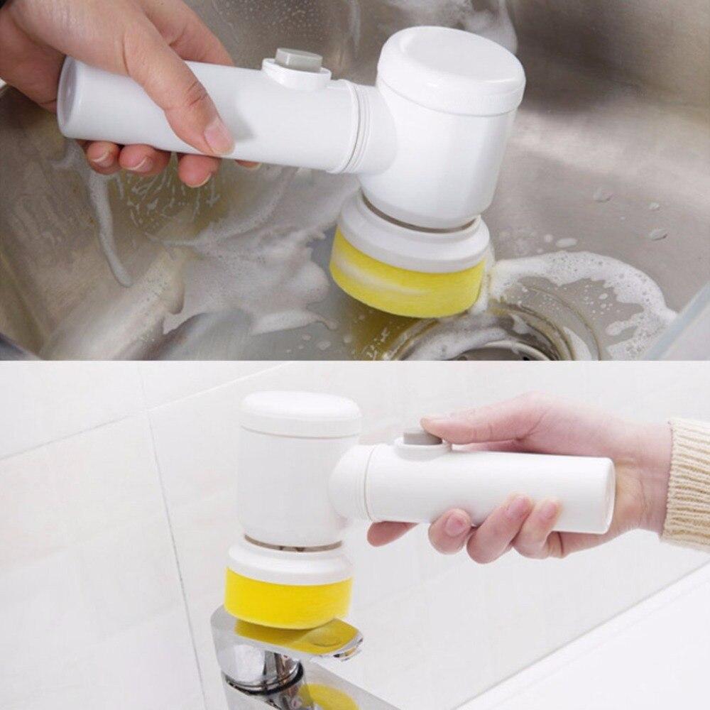 Nuovo Pratico 5 In 1 Multifunzionale Elettrica Domestica Pennello Magico ABS Nylon Da Cucina Vasca Da Bagno di Pulizia Finestra Brush Cleaner