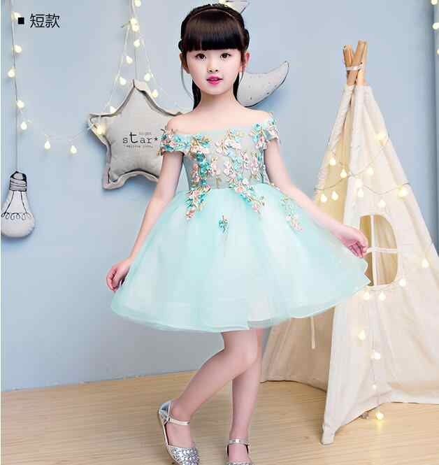 Элегантное свадебное платье с открытыми плечами для девочек; вечерние платья принцессы из тюля с кружевной аппликацией для дня рождения; платье для первого причастия для девочек