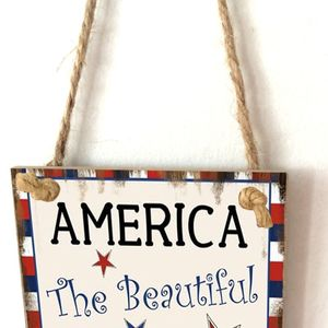 Image 4 - Vintage Wooden Hanging Plaque America The Beautiful Sign Board Wall Door Home Decoration Independence Day Party Gift
