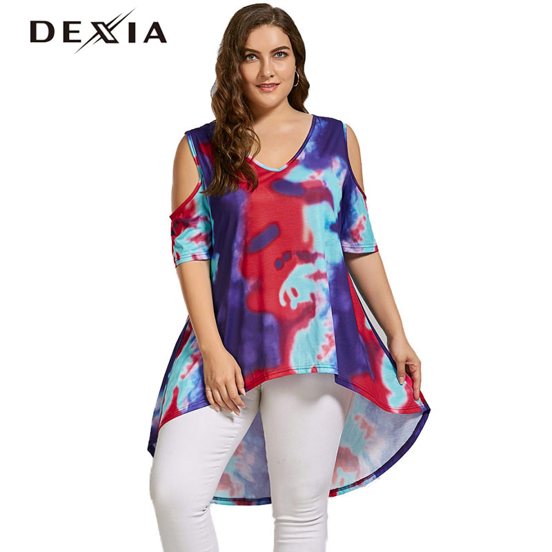 DEXIA Women Off Shoulder T Shirt Summer V-Neck Print Tee Tops Knitted Casual T-Shirt Half Sleeve Loose Colthing Large Size 9933