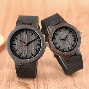 Image 1 - Minimalist sandal ağacı saat çift marka tasarım siyah gerçek deri kırmızı/siyah İkinci el kuvars bilezik sevgiliye hediye