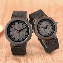 Relógio de madeira de sandália minimalista para casal design da marca preto couro real vermelho/preto segunda mão pulseira de quartzo presente do amor