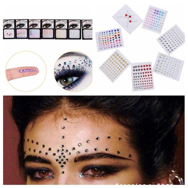 1PC Jewel Eyes Makeup Crystal Eyes Sticker Tattoo Eyeliner Diamond  GlitterMakeup Sticker Bridal Party Makeup Decoration Cosmetic bcf8da7c64dc