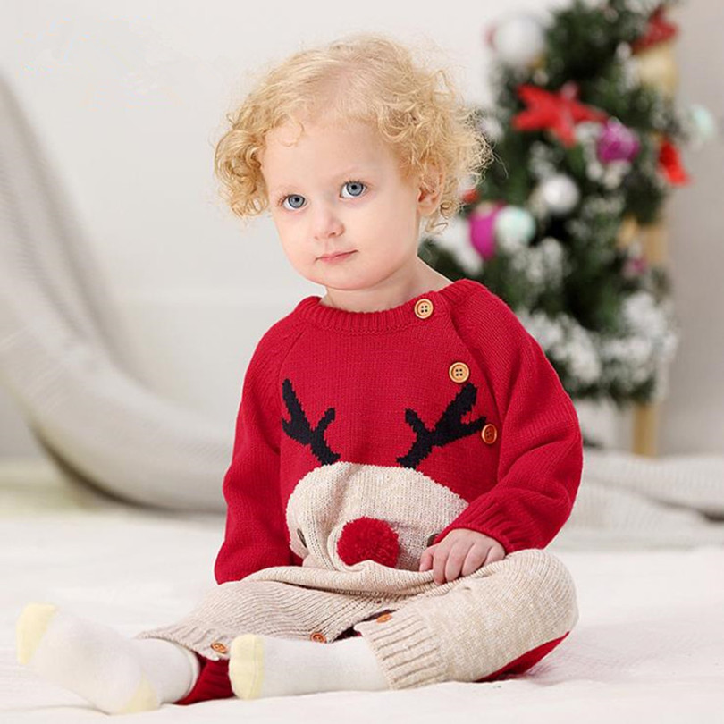 Baby Sweater Warm Knit Cartoon Jumper Acrylic Round Neck Long Sleeve Siamese Clothing Baby Sweater Winter Boys Girls Clothes