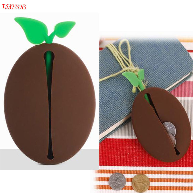 Practical Novelty Silicone Coffee Bean Shape Keyring Key Bag Purse Pouch Holder Xmas Gifts Luggage & Bags Coin Purses & Holders