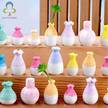10Pcs Mini Flower Vases Simulation Vase Small Pasture Statue Figurine Micro Crafts Ornament Miniatures DIY Home Garden Decor GYH