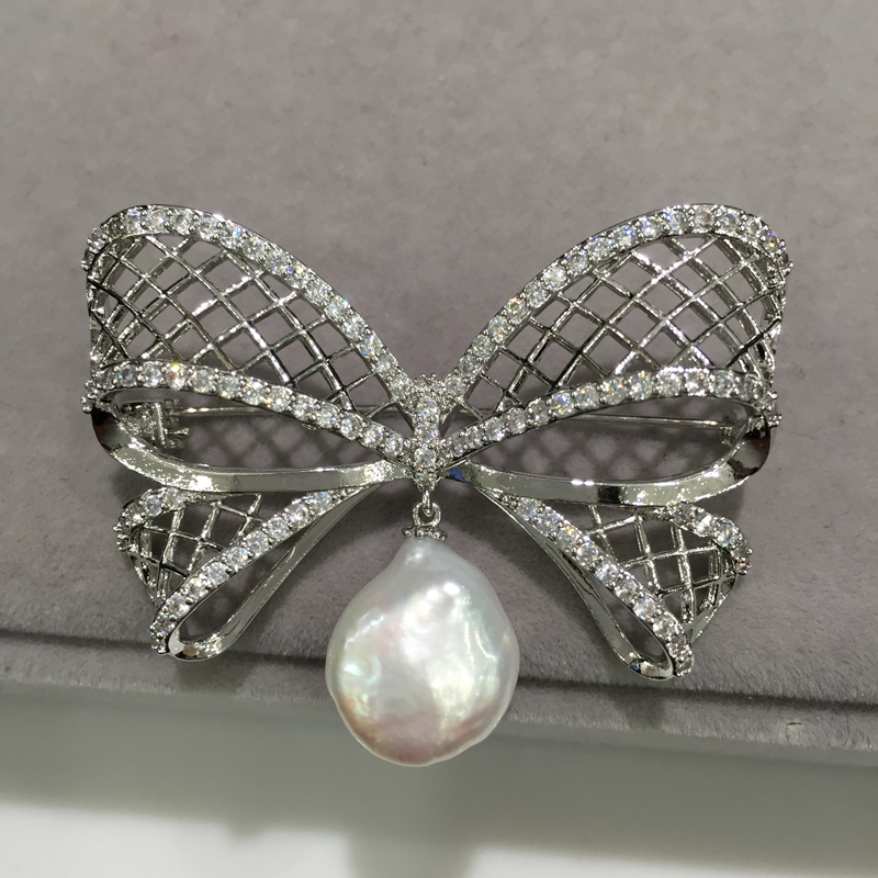 Baroque Natural freshwater pearl brooch bowknot real pearl brooch pins fashion women jewelry elegant faux pearl embellished brooch for women