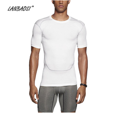 LANBAOSI Men's Short Sleeve Compression T Shirts Base Layer for Fitness CROSSFIT Workout GYM Basketball Jersey Run Sports Tops