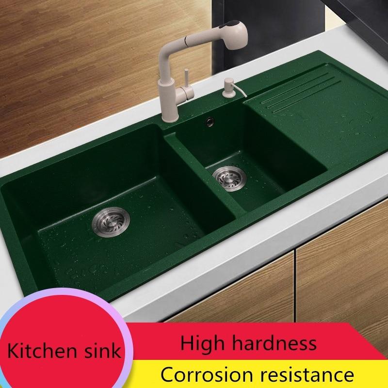 Granite Black Thicken Sink Deck Mounted Double Washing Basin Granite Counter Top Quartz Stone Lundry Sink Kitchen Accessories