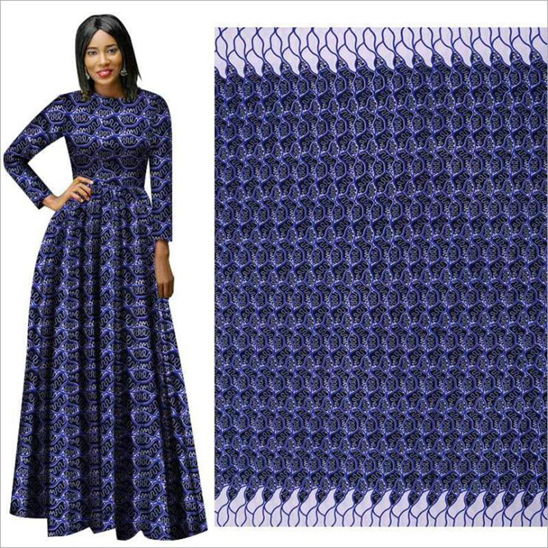 Me-dusa 2019 New Navy Blue African Print Wax Fabric 100% Polyester Hollandais Wax DIY Dress Suit Cloth 6yards/pcs High Quality