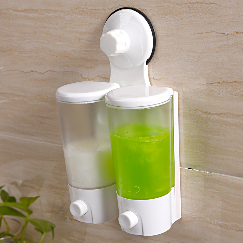 Suction Cup Double Head Soap Dispenser Hotel Wall-mounted Shower Gel Shampoo Hand Sanitizer Box Container LO5211653