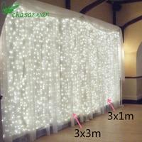 CHASANWAN 3M X 3M Wedding Fairy Light Christmas Garland LED Curtain String Light Outdoor New Year
