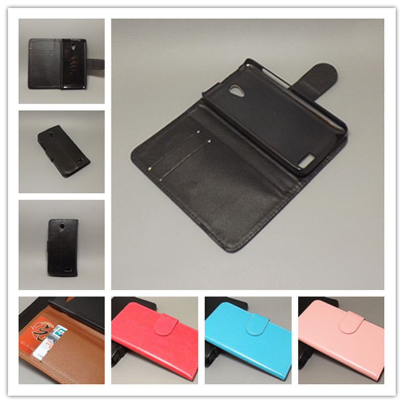 Crazy horse wallet case hold two Cards with 2 Card Holder and pouch slot For Lenovo A319