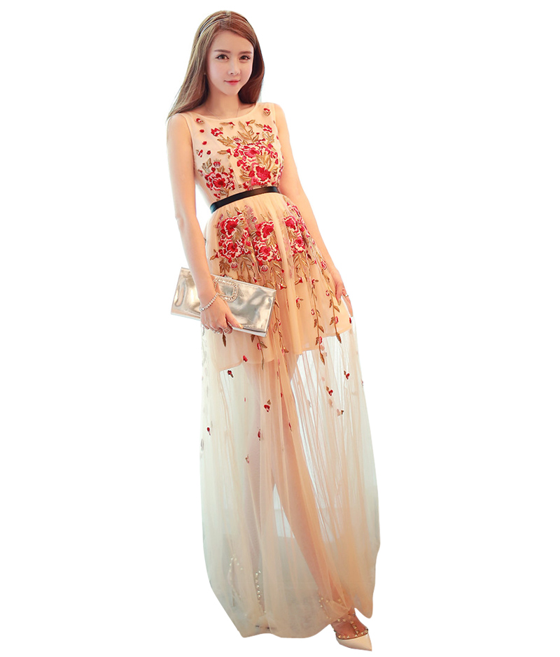 Bohemian Clothing Flower Embroidery Nude Mesh Dress Plus Size Boho