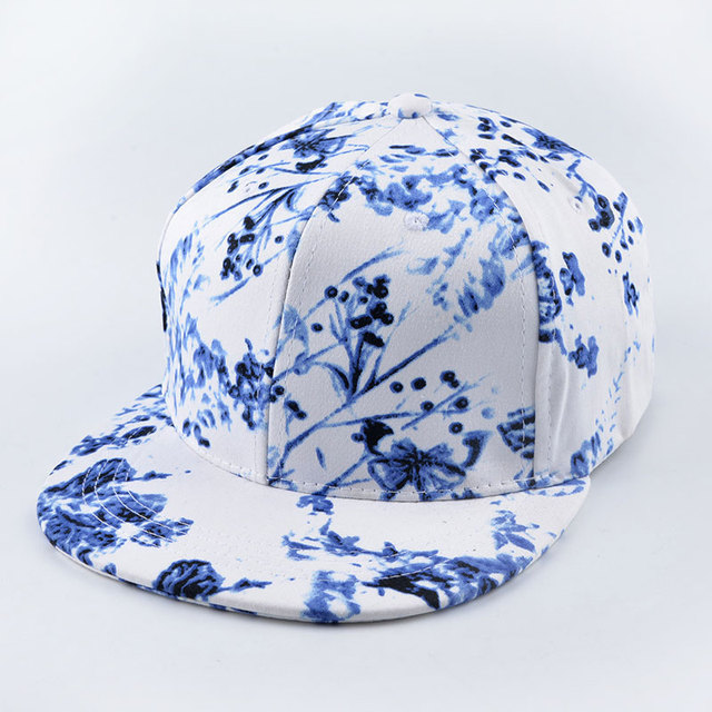 Floral pattern Chinese ink-painting graffiti strapback snapback cap sport hip hop baseball hats for men women brand bone gorras