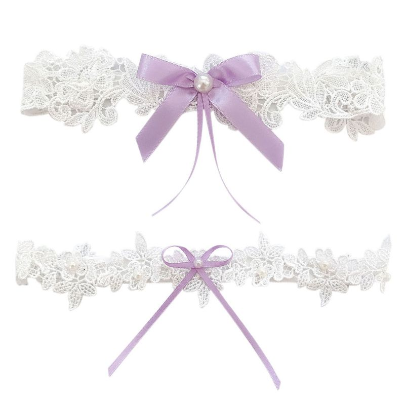 Wedding Bridal Floral Lace Thigh Rings Elastic Leg Garters Rhinestone Faux Pearl Bowknot Beaded Glitter Prom Party