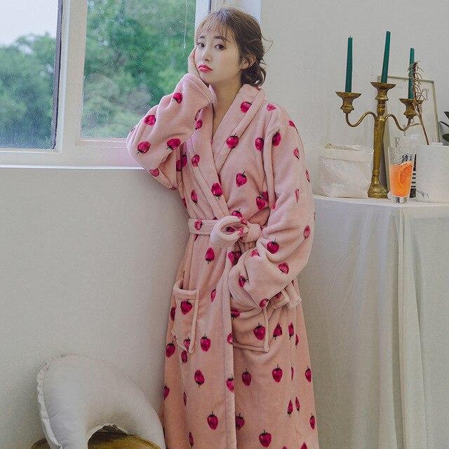 596cca5e58 Winter Robe Female Sleepwear Robes Women Bathrobe Cartoon Flamingo print  Robe Ladies Fashion Couple Robe 11 color