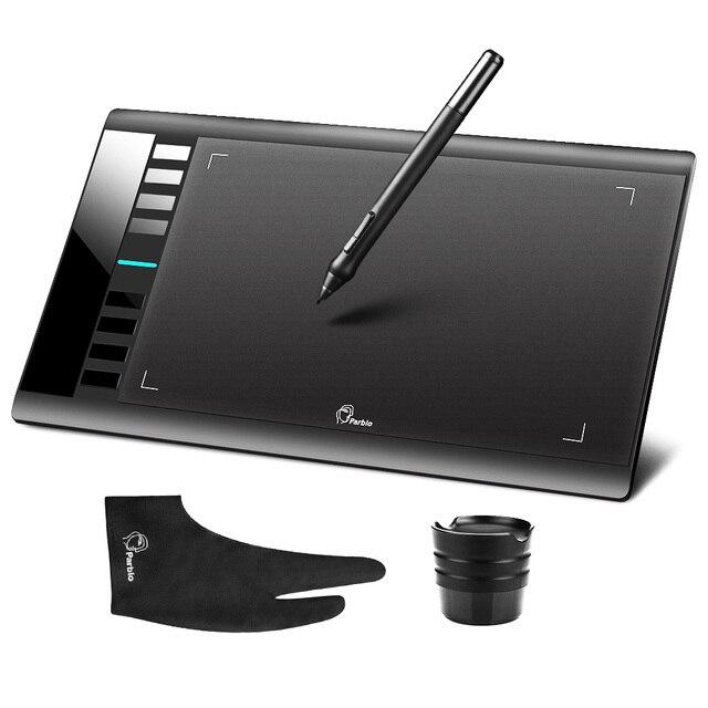 "Parblo A610 لوحة رسم رسومات رقمية مع قلم لوحي قابل لإعادة الشحن 10x6 ""5080LPI مع قفاز"