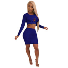 Sexy Hollow Out Lace-up Crop Tops With Mini Skirts 2 Pcs Sets Club Bodycon Dresses Streched Long Sleeves Autumn Dresses K8656 navy lace hollow out short sleeves mini dresses with lace up design