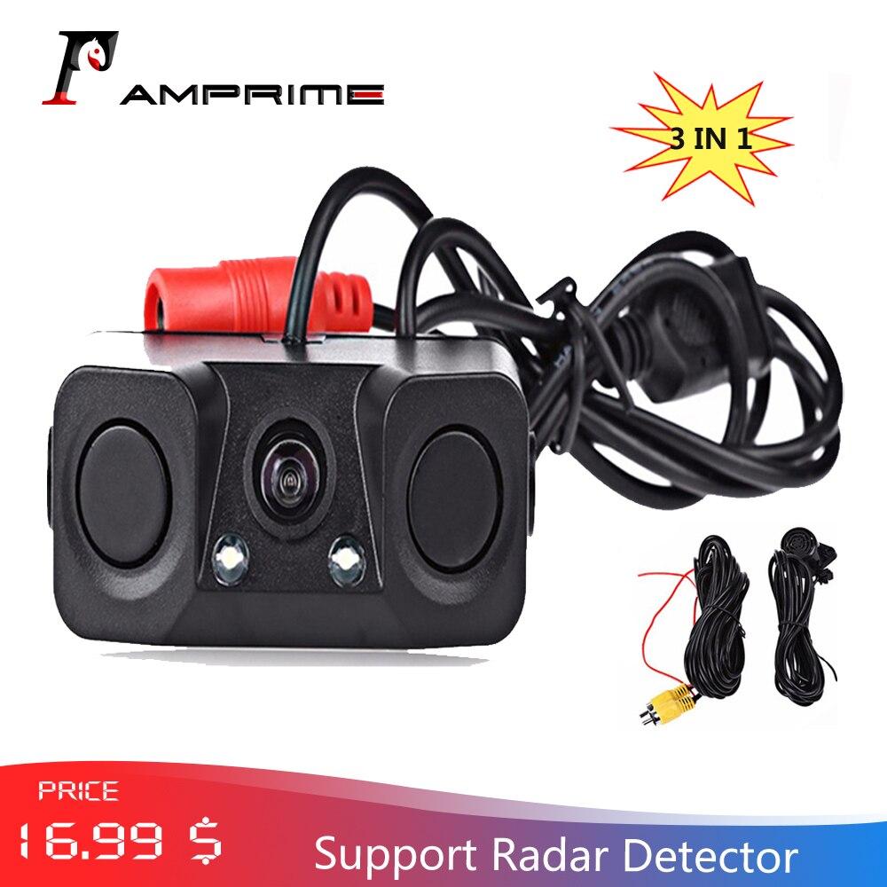 AMPrime 3 IN 1 Waterproof Video Parking System Car Rear View Camera  With 2 Radar Detector Sensors Alarm Indicator Anti Car
