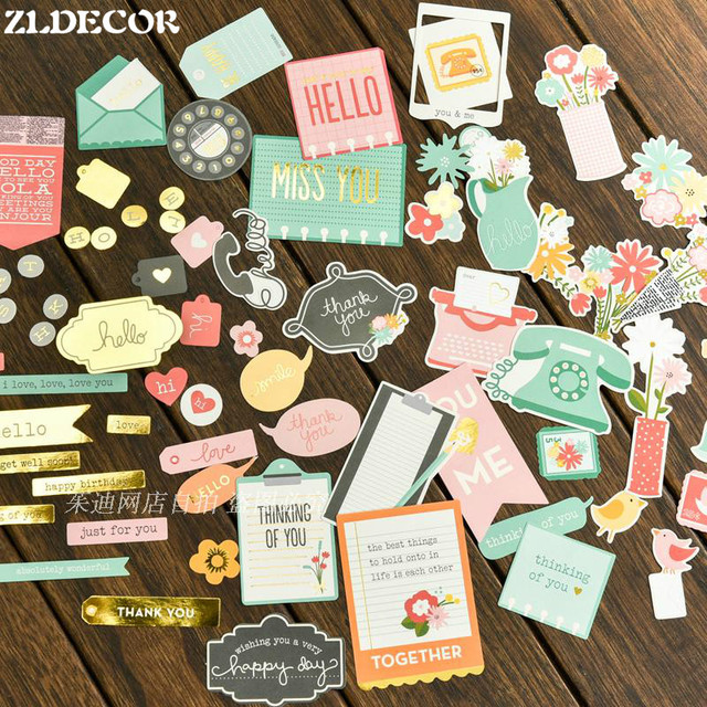 ZLDECOR Miss You paper diecuts for DIY scrapbooking Planner/photo album Decoration Crafts 65pcs