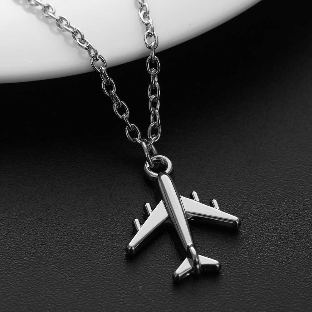 2019 Handmade Silver Color 1Pcs Airplane Pendant Necklace Aircraft Choker Alloy Clavicle Chain For Women Men Jewelry Brincos