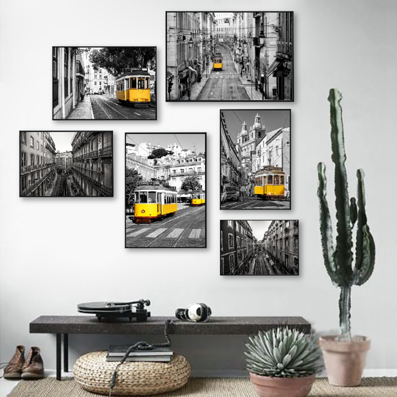 Portugal Lisbon Historic Architectural Posters And Prints Black White Wall Pictures Decor Old Street Yellow Tram Canvas Painting