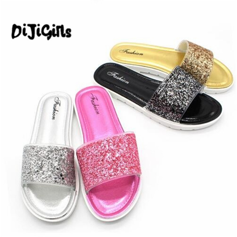 Fashion 2018 Summer Women Slides Bling Shoes Woman Casual Sandals Slippers Sequins Beach Slides Comfortable Pu Leather Shoes new 2018 shoes woman sandals wedges lovely jelly shoes solid casual slippers summer style fashion slides flats free shipping