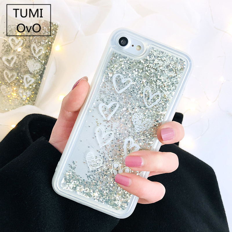 Half-wrapped Case Herecase For Love Heart Stars Glitter Dynamic Quicksand Liquid Silicone Case For Iphone X 10 7 8plus For 6s 6 Plus Soft Case