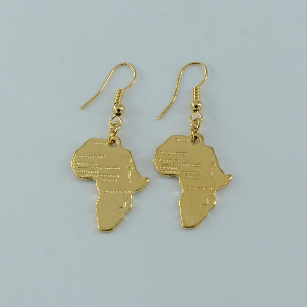Gold Plated Jewelry Map of Africa Earrings for Women African Map Earring Girl Congo Sudan