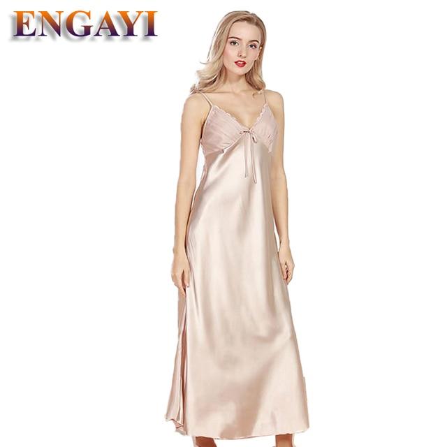 350fb21b78 ENGAYI Brand Women Summer Night Dress Nightgown Silk Satin Nightdress Night  Gown Plus Size Lace Nightwear Sexy Lingerie CQ311