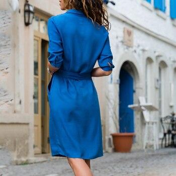 AiiaBestProducts Autumn Winter Women Three Quarter Shirt Dress 1