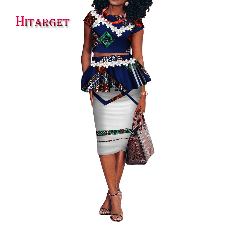 African Bazin Riche Print Kanga Clothing 2 Piece Skirt Sets for Women African Applique Short Crop Top and Step Skirt Sets WY3234