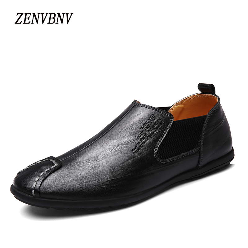 ZENVBNV Men Casual Shoes Fashion Leather Slip On Men Shoes Leather Men Loafers Moccasins Comfortable Men's Flats Loafers dxkzmcm men casual shoes fashion men shoes leather men loafers moccasins slip on men flats male shoes