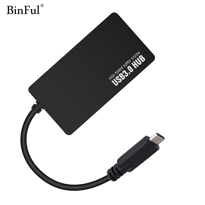 цена BinFul USB 3.1 Type C to 4 port USB 3.0 High Speed USB Hub support transfer rates up to 5Gbps For Laptop MacBook Mac USB-C