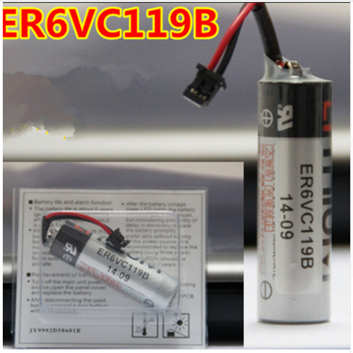 Para 10 pçs/lote 100% Original Novo Para TOSHIBA ER6V ER6VC119B 3.6 v 2000 mah PLC Bateria Com Plug Preto Livre grátis