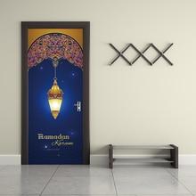 цены 77x200cm Muslin Raomanda  Door  Stickers Islamic Wall Sticker Bedroom Living Room Decor Wallpaper Poster PVC Waterproof Decal